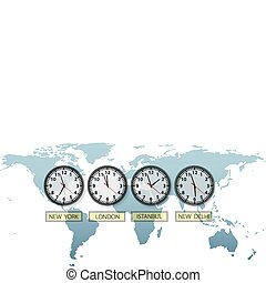 Travel Earth city time clocks on world map with space to...