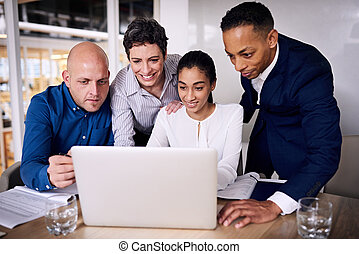 diverse group of business people working as a team - group...