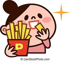Young woman eating fries - Vector illustration.Original...