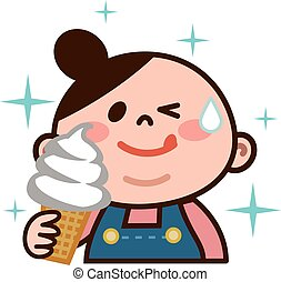 Young woman eating ice cream - Vector illustrationOriginal...