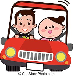 Young couple to drive Dating - Vector illustration.Original...