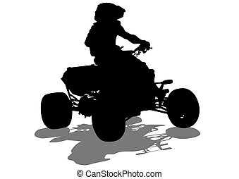 ATV sports races - Silhouettes athletes ATV during races on...