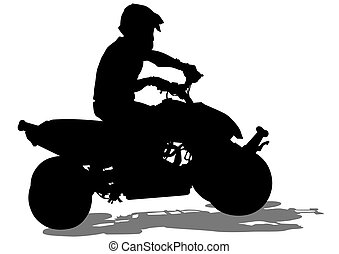 Quad sports races - Silhouettes athletes ATV during races on...