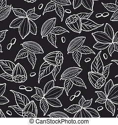 Cocoa beans seamless pattern