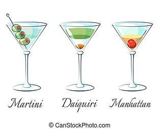 Popular alcoholic cocktails icons on white background with...