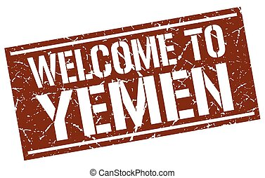 welcome to Yemen stamp