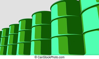 Glossy green metal barrels. Cartoon version for presentations and reports. 4K seamless loopable animation, ProRes