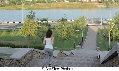 a girl while jogging in park