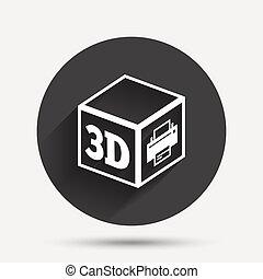 3D Print sign icon 3d cube Printing symbol Additive...
