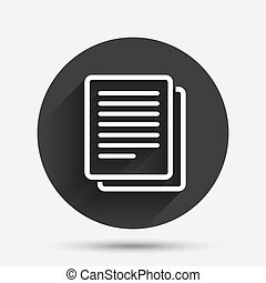 Copy file sign icon Duplicate document symbol Circle flat...