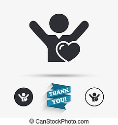 Fans love icon Man raised hands up sign Flat icons Buttons...