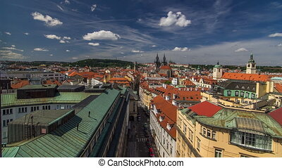 View from the height Powder Tower in Prague timelapse. Historical and cultural monument
