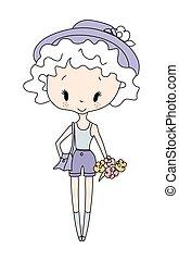 Illustration of vector little girl doll. Little girl with...