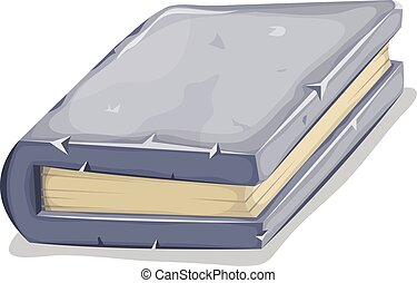 Cartoon Stone Book - Illustration of a cartoon book with...