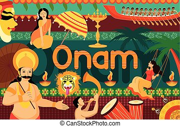 Happy Onam festival celebration background - vector...