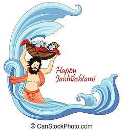 Krishna with flute on Happy Janmashtami background - ector...