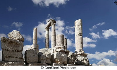 old roman Citadel Hill, Jordan - Amman city landmarks-- old...