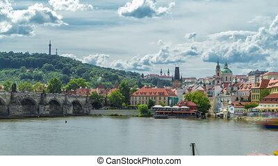 Vltava river embankment timelapse in a sunny summer day....
