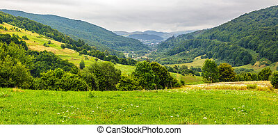 village on hillside meadow - panoramic landscape with...