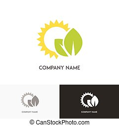 Green leaves and sun logo - Nature logo - fresh green leaves...