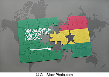 puzzle with the national flag of saudi arabia and ghana on a...