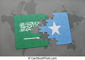puzzle with the national flag of saudi arabia and somalia on...