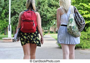 estudiantes, ambulante, frente, escuela
