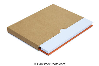 White notebook in brown paper case isolated on white...