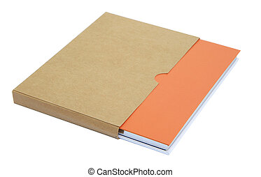Orange notebook in brown paper case isolated on white...