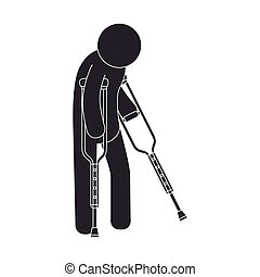 man crutches walk - man crutches illness health injury walk...