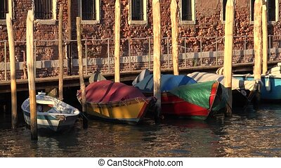 Row Boats Floating At Canal Pier Or Dock
