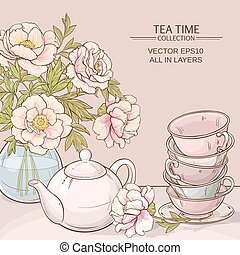 tea time color - Illustration with cups, teapot and peonies...