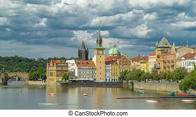 Charles Bridge and historical buildings timelapse in Prague...