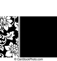 Vector Black Floral Pattern and Frame