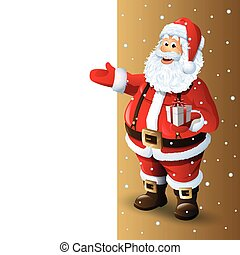 Santa Claus Cartoon Character Showing in Blank Space. Vector...