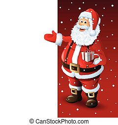 Santa Claus Cartoon Character Showing Merry Christmas Tittle...
