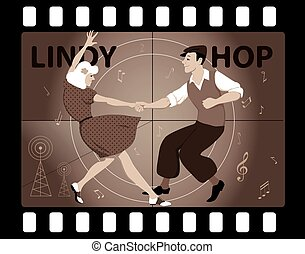 Lindy Hoppers Dancing - Couple dressed in vintage fashion...