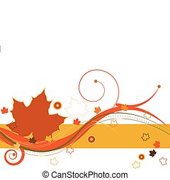 Autumn Breeze - Autumn leaves and abstract design on a white...