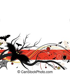 Bat Flight on Halloween and abstract design on a white...
