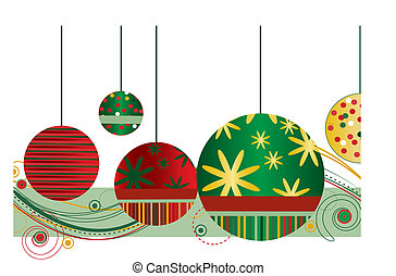Christmas Ornaments in Red and Green with abstract design on...