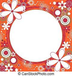 Floral Square Frame in Orange