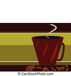 Red Coffee cup and coffee beans on Green BKGD