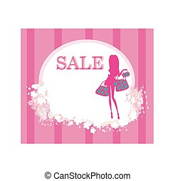 fashion shopping girl with shopping bag - sale card