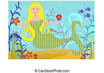 Mermaid under the Sea - Detailed illustration of a Mermaid...