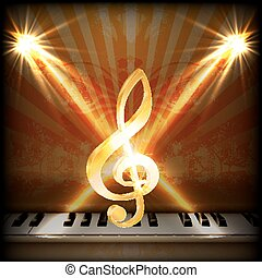 musical background with a treble clef and piano keys uno