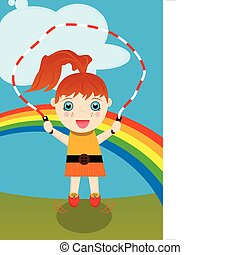 Young Girl Jumping Rope - Young red-headed caucasian girl...