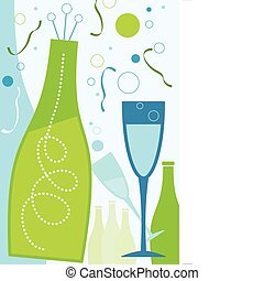 Celebration in Blue Theme - New Years champagne and...