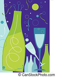 Celebration in Purple Theme - New Years champagne and...
