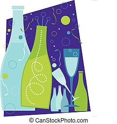 Celebration - New Years champagne and champagne glasses