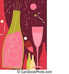 Celebration in Dark Pink Theme - New Years champagne and...